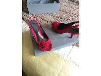 Coast shoes, magenta colour, worn once in original box, size 5