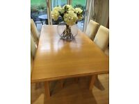 Solid oak dresser matching table and four chairs M and S Lichfield