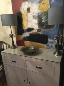 TWO PEWTER/GREY TABLE LAMPS