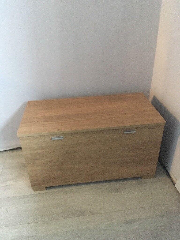 Oak coloured wooden storage box