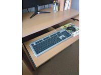 Computer desk with bookshelf, cd storage, slide out keyboard and printer shelf. Light oak effect