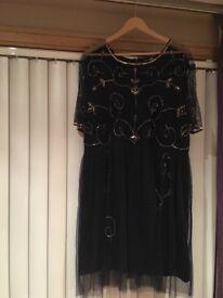 Boohoo plus size embellished navy dress size 20 worn twice