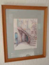 Framed picture of outdoor steps / courtyard scene