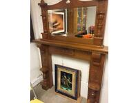 Pine ornate fire surround with matching mantle mirror