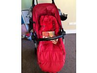 red quinny zapp xtra 2. Buggy bar, rain cover and cosy toes included instructions too