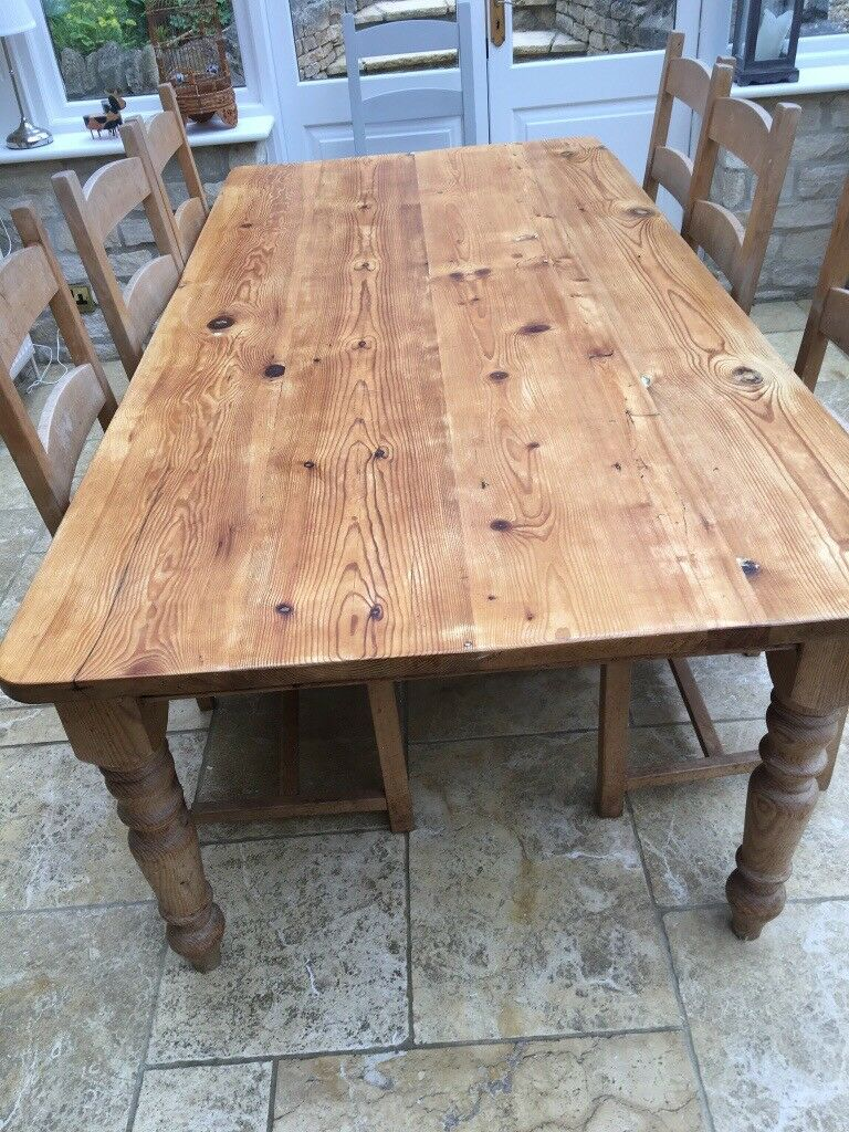 3bc0da3c81e3 Large Farmhouse dining table. 2.12m. X 1.12m with turned legs and two  drawers