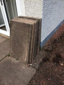 Paving slabs 10 X 3 by 2s free to uplift, others available if you can uplift them.