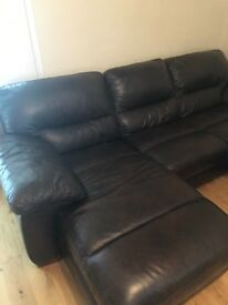 Brown leather sofa with foot stool and Arm Chair