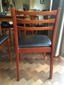 Mid century ladder back dining chairs x4