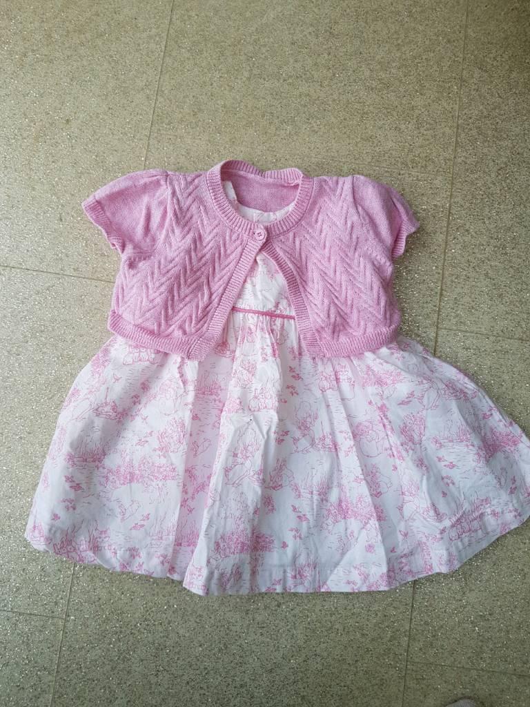 Girls Peter rabbit dress and cardigan 0-3 months