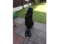 Golf bag with 3 clubs and a pair of golf shoes size 10