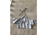 Size 8 Missguided grey frill halterneck top