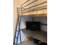 High bed - IKEA svarta with desk