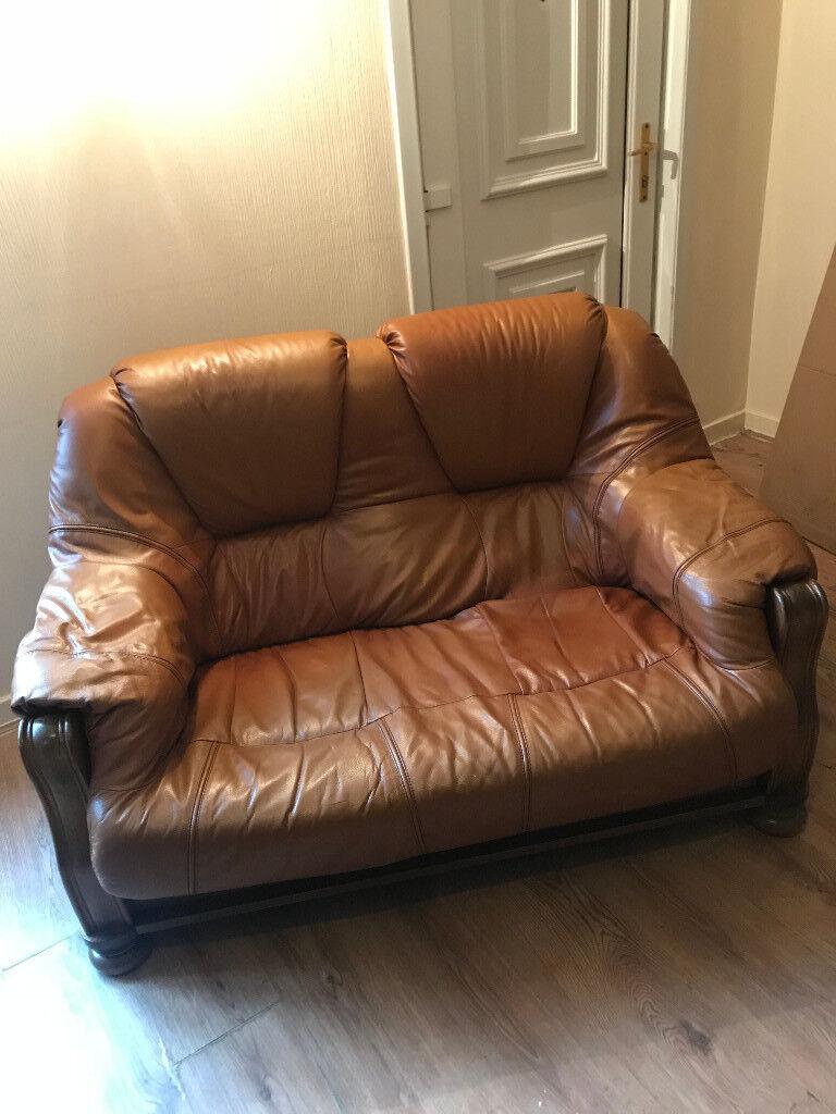 Free 2 Tan Leather 2 Seater Sofas In Stewarton East