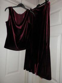 Burgundy velvet long skirt and top size 12