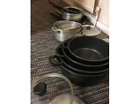 Used Saucepans, frying pans over 20 units some with leads