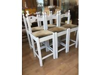6 x Pale Grey Wooden Painted Bar Stools. Will sell as a lot or in pairs.