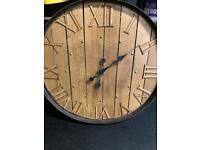 Handmade oak whiskey barrel clock