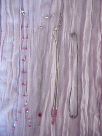 NECKLACES: 4 different, with pink detail - various lengths and designs. £6 ovno lot or £2 each.