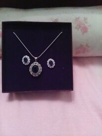 blue sapphire set- ring. necklace and earrings