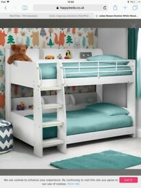 Julian Bowen Domino White Wooden Bunk Beds with Shelving