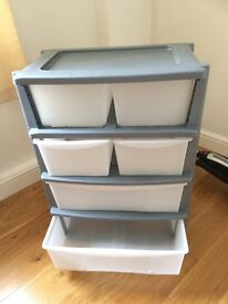 HOME 6 Drawer Plastic Wide Tower Storage Unit - Grey