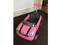 Kids baby toy car pink Mini Cooper with steering handle