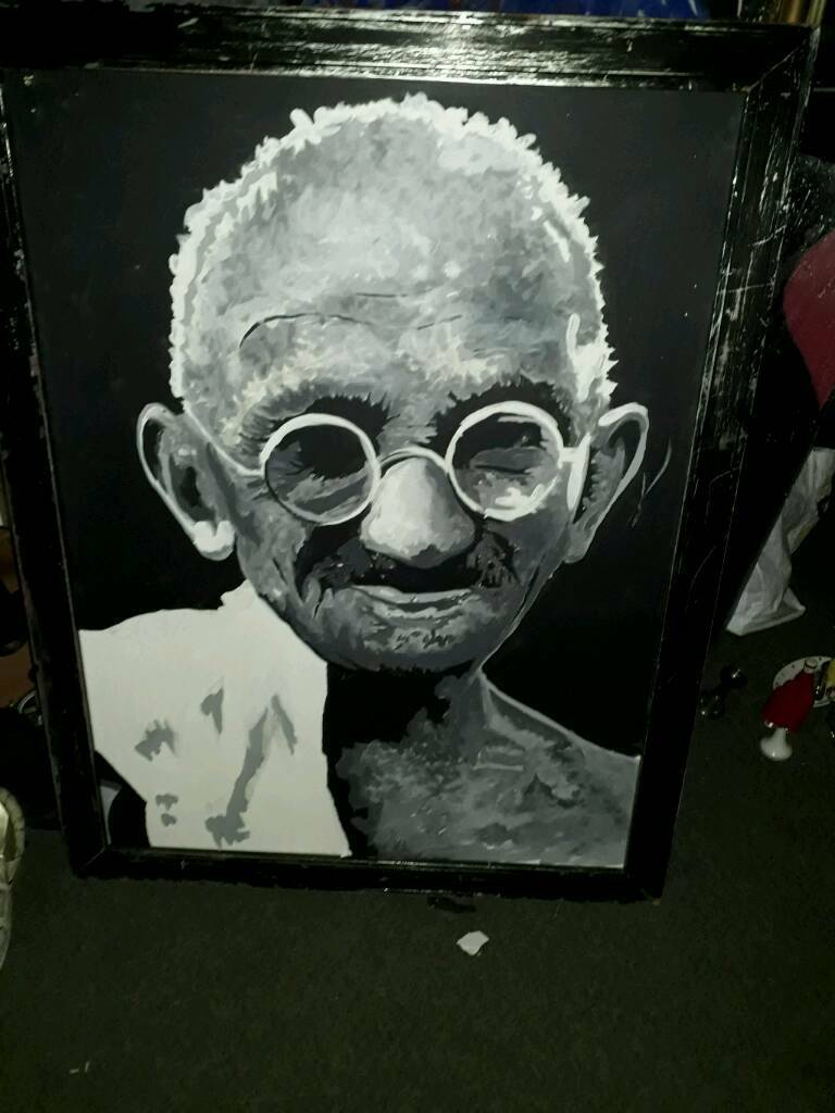 A large unique painting of Ghandi