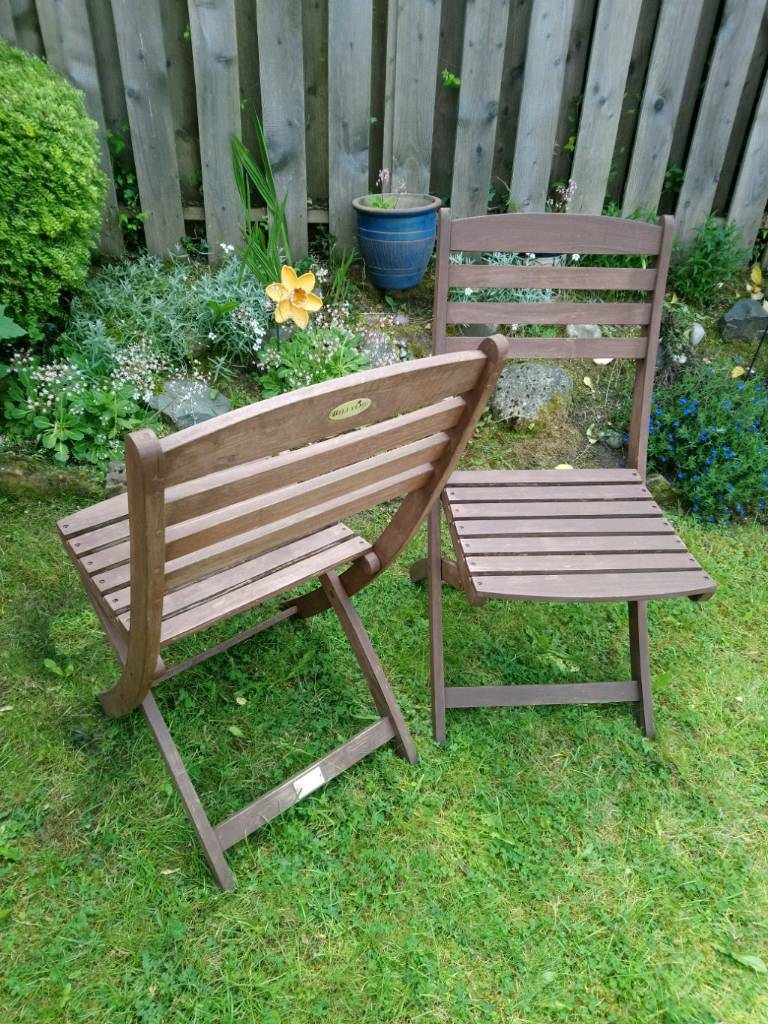 Two hardwood garden chairs glasgow