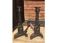PAIR MEDIAEVAL CAST IRON DOG LEGS CIRCA 1500, 22 INCHES HIGH WIDE AND DEEP
