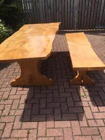 Bespoke handcrafted table & bench