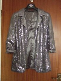 SILVER/GREY SEQUINED JACKET - SIZE 8