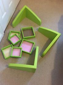 IKEA V shaped book shelves & photo frames
