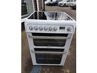 HOTPOINT HUE61P 60cm DOUBLE OVEN CERAMIC ELECTRIC COOKER-WHITE