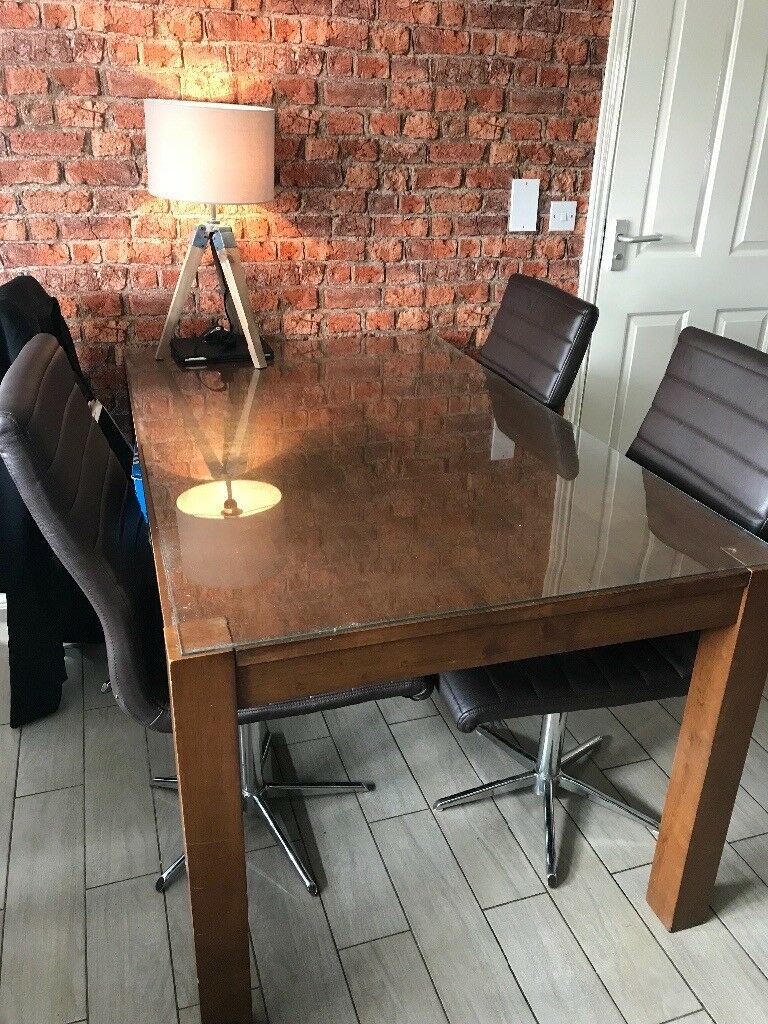 Mahogany Dining Room Table With Gl Top And 4 Dwell Chairs