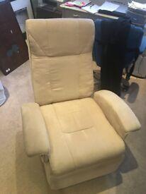 Luxury Reclining chair in beige suede.