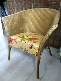 Vintage collectible Lloyd Loom by Lusty Floral Gold Armchair