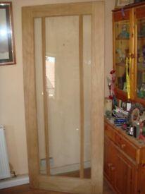 """Glass Oak Door 78"""" x 33"""""""