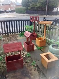Bird tables & wishing well planters