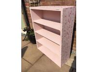 Beautiful hand painted pastel pink & floral bookcase/shelves