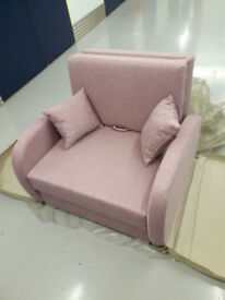 BRAND NEW Polish one seater sofa bed pink color - nowe polskie fotele z funkcją spania/free delivery