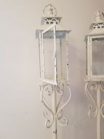 White Vintage Style Shabby Chique Garden Wedding Lantern Candle Holder Outdoors or Indoors