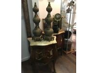 Pair Of Large Old Solid Brass Indian Pagodas Set With Gods. Open To Offers.