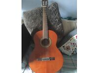 Woods acoustic guitar and case