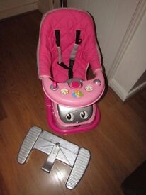 GIRLS PINK RIDE ON CAR & ROCKER WITH PARENT HANDLE AND SOUND CUTE IN NEW CONDITION!!