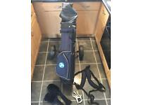 Golf clubs and foldable golf trolley