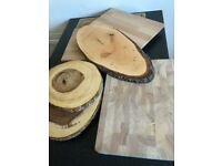 Wooden chopping boards and serving platters