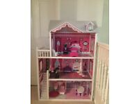 Dolls House with wooden furniture for Sale: £50