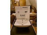 New RAK Wall Hung Hand Basin with wall fitting fixtures