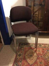 PADDED FABRIC AND CHROME STACKING CHAIRS x 4